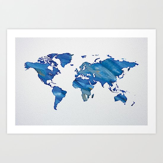 Blue World Map 01 Art Print