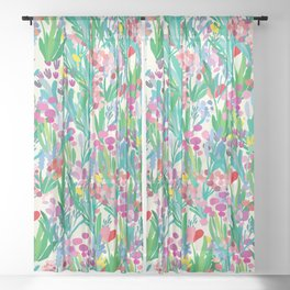 Seamless pattern with flowers, plant background. Abstract floral illustration. Textile print with wildflower. Spring fabriq Sheer Curtain