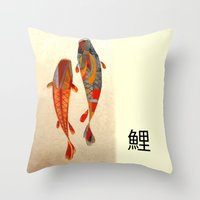 collage Throw Pillows featuring Kolors Koi by Fernando Vieira