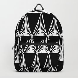 Hand Drawn Geometric Triangle Monochrome Art Deco Pattern Backpack