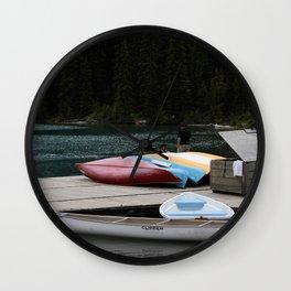Moraine Lake kayaks Wall Clock