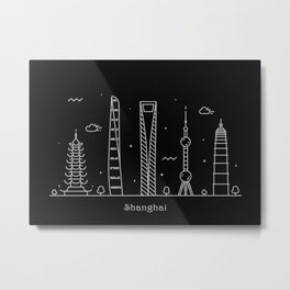 Shanghai Minimal Nightscape / Skyline Drawing Metal Print