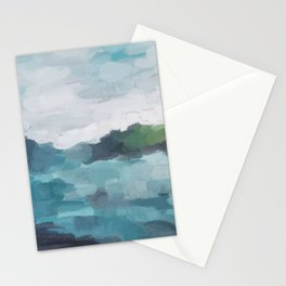 Aqua Blue Green Abstract Art Painting Stationery Cards