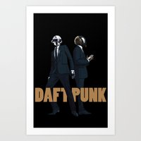 daft punk Art Prints featuring Daft Punk by joshuahillustration
