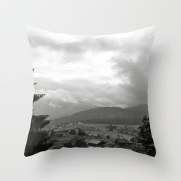 Carpathian Mountains Shrouded in Mist Throw Pillow