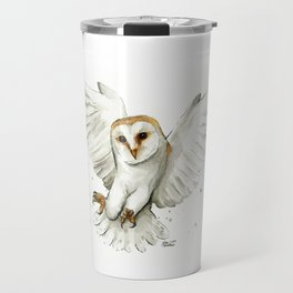 Barn Owl Flying Watercolor | Wildlife Animals Travel Mug
