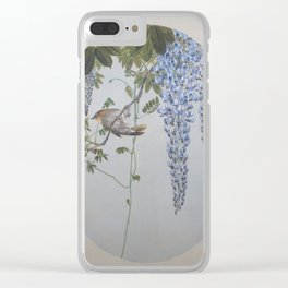 Seitei - Album of Flowers and Birds (1906): Japanese Robin in Wisteria Clear iPhone Case