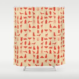 grid collective in red Shower Curtain