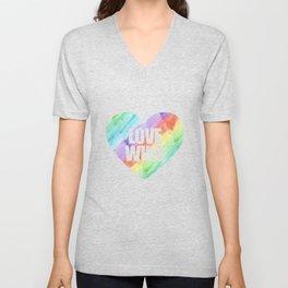 Love Wins Gay Lesbian Rainbow CSD Gift Unisex V-Neck