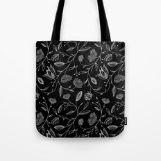 floral (black) Tote Bag