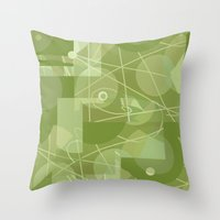 50s Throw Pillows featuring 50s wallpaper by jenapaul
