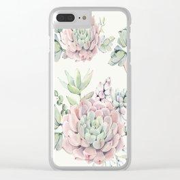 Pink Echeveria Light Green #society6 #buyart Clear iPhone Case