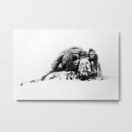 Snowy Haytor in the mist Metal Print