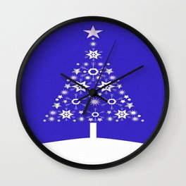 Christmas Tree Made Of Snowflakes On Purple Background  Wall Clock