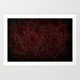 Dark creased leather texture abstract Art Print