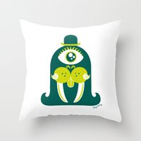 walrus Throw Pillows featuring Walrus by Lucy Irving