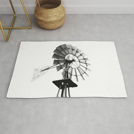 Windmill Black and White Rug