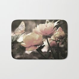 Petal Pink Rose And Butterfly Bath Mat