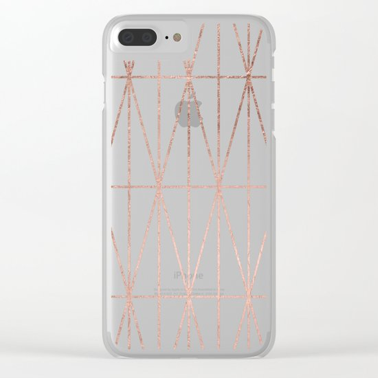 Modern geometric triangles faux rose gold pattern on white marble Clear iPhone Case