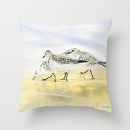 Trio Sandpipers Throw Pillow