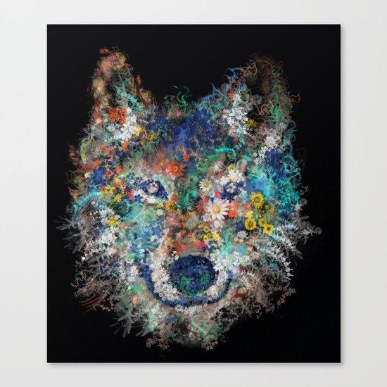 floral animals wolf 2 Canvas Print