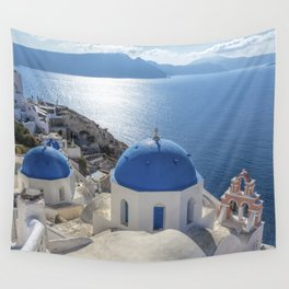 Santorini Island with churches and sea view in Greece Wall Tapestry