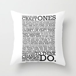 Here's To The Crazy Ones - Steve Jobs Throw Pillow