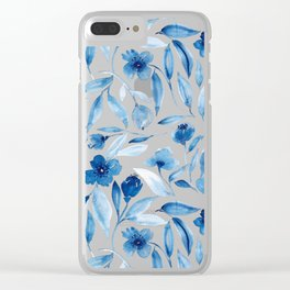 Prussian Floral Clear iPhone Case