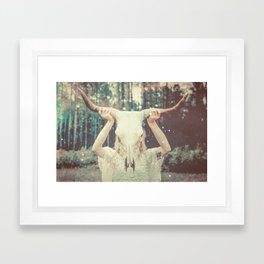 Bull Skull Tribal Woman Framed Art Print