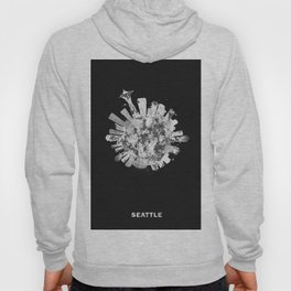 Seattle, Washington Black and White Skyround / Skyline Watercolor Painting (Inverted Version) Hoody