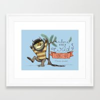 wild things Framed Art Prints featuring Wild Things by Sofia Verger