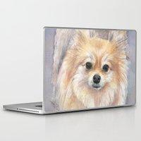 pomeranian Laptop & iPad Skins featuring Pomeranian Watercolor Pom Painting by Olechka