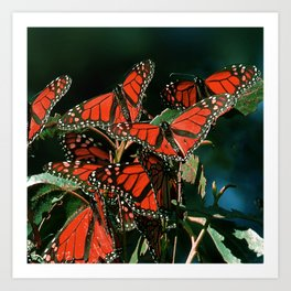 """Red """"Stained-Glass-Window-Style"""" Butterflies Scenic Art Print"""