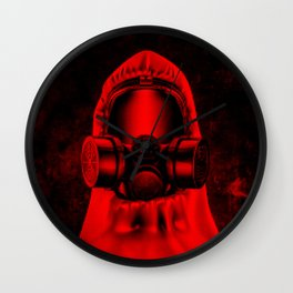 Toxic environment RED / Halftone hazmat dude Wall Clock