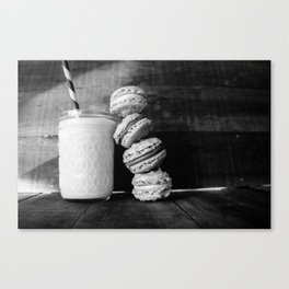 Beer Macarons in Black and White Canvas Print