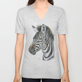 Zebra Watercolor Painting - African Animal Painting Wildlife Head Bust Unisex V-Neck