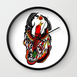 Phoenix on Fire Wall Clock