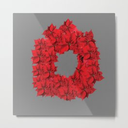 RED CHRISTMAS POINSETTIAS FLOWER WREATH DECORATIONS Metal Print