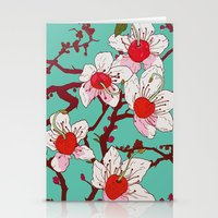 cherry blossoms Stationery Cards featuring Cherry Blossoms by minniemorrisart