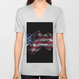 USA Smoke Flag on Black Background, USA flag Unisex V-Neck