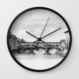 Old Bridge in Florence B&W Wall Clock