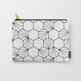 Peacock comb black white geometric pattern Carry-All Pouch