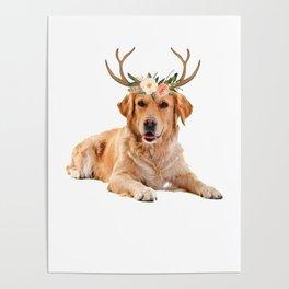 Golden Retriever Dog Reindeer Antlers Funny Christmas Shirt Poster