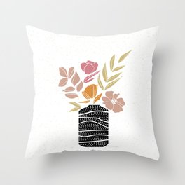 Bouquet of Flowers Illustration Throw Pillow