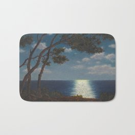 Classical Masterpiece 'Moonlight on the Water' by Ivan Fedorovich Choultsé Bath Mat