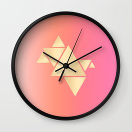 Gradient pink & gold triangles Wall Clock