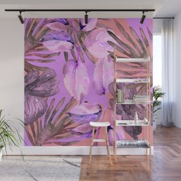TROPICAL FERNS AND FLOWERS IN SHADES OF pink - lavender and white Wall Mural
