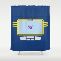 transformers Shower Curtains featuring Soundwave Transformers Minimalist by Jamesy