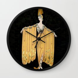 "Art Deco Illustration ""Oriental Gown"" by Erté Wall Clock"