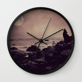 Call of the Wild - full moon fine art photo, wolf howling, landscape photography Wall Clock